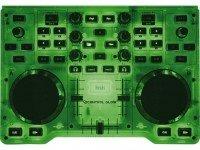 Hercules DJ Control Glow Hercules DJ Control Glow - Estrutura transparente, Iluminação fluorescente, USB, 2x jog wheels, Crossfader. Destina-se à utilização em espectáculos ao vivo.