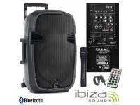 Ibiza HYBRID10VHF-BT Regulação Bass / Treble, equipado c/ Bluetooth  Coluna Troley c/ rodas, estrutura ABS Preta  Funcionamento 230Vac/12Vdc c/ Bateria interna