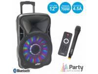 Party Light & Sound PARTY-12LED Regulação Bass / Treble, equipado c/ Bluetooth  Coluna Trolley c/ rodas, iluminação LED RGB  Bateria interna 4.5Ah, entrada p/ guitarra