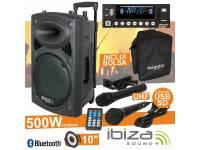 Ibiza PORT10UHF-BT Regulação Bass / Treble, equipado c/ Bluetooth    Coluna Troley c/ rodas, estrutura ABS Preta    Funcionamento 230Vac/12Vdc c/ Bateria interna