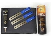 Musicnomad Frine Fret Polishing Kit Inclui Frine Fret Polish (MN104 30ml), 3 lâminas Fretboard Guards (MN225) para rastes de tamanho pequeno, médio e jumbo e pano camurça microfibra (20cm x 15cm).