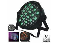 VSOUND VSPROJ543RGBW Principais Características:  - Projector c/ LEDs RGBW e efeitos de controlo  - Número de LEDs: 54 LEDs c/ 3W potência  - 12 LEDs Vermelhos, 18x Azuis e 18x Verdes e 6x Brancos, 6 c...