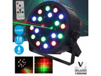 VSOUND VSPROJPL18LA Principais Características:  - Projector PAR c/ 18 LEDS RGB e Laser  - 6 LEDS, Verdes, 6x Vermelhos e 6 Azuis  - Laser FIREFLY RG (Verde e Vermelho)  - Vermelho @ 100mW, Verde @ 3...
